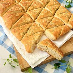 Trekantsbröd med fetaost & timjan, perfekt brytbröd när man är många!