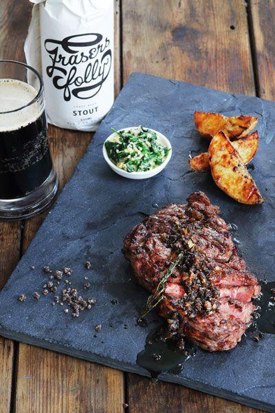 Rib-eye Steak with Stout Salt & Bone Marrow Butter | Crush 40