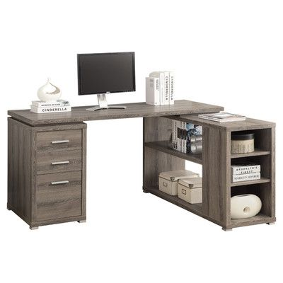 L shaped desk with reversible shelving. @casey