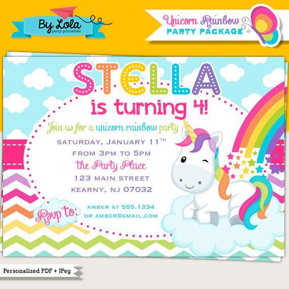 Unicorn Rainbow Birthday Party Invitation - Printable Colorful Rainbow Birthday Invite by ByLolaPrintables