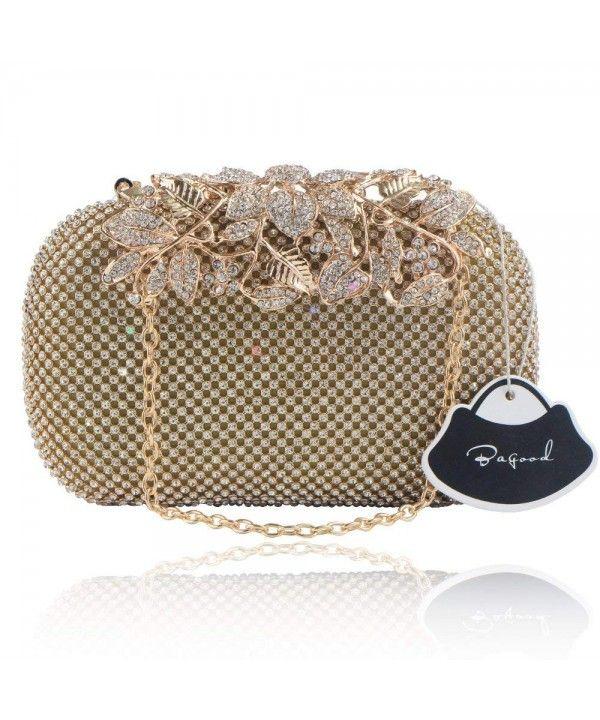 89aba26bb1 Flower Rhinestones Clutch Purse Crystal Evening Handbags - Gold ...