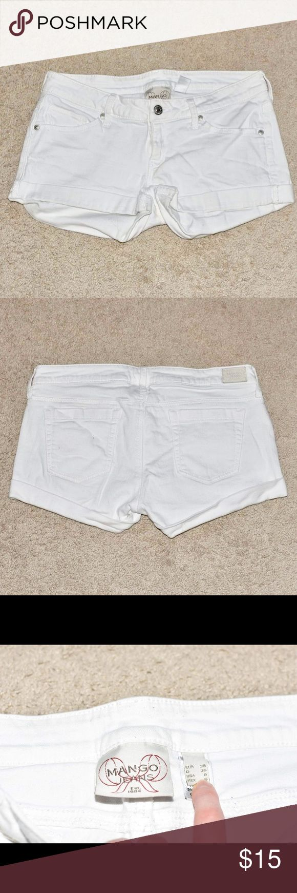 "Mango White Denim Shorts Low rise white denim shorts with rolled cuff. Approx 2"" inseam, 7"" front rise. Some pilling and tiny stain on back left pocket. Mango Shorts Jean Shorts"