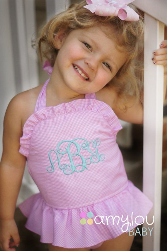 Monogrammed Pink Gingham Swim Suit for babies and by amyloubaby, $35.00