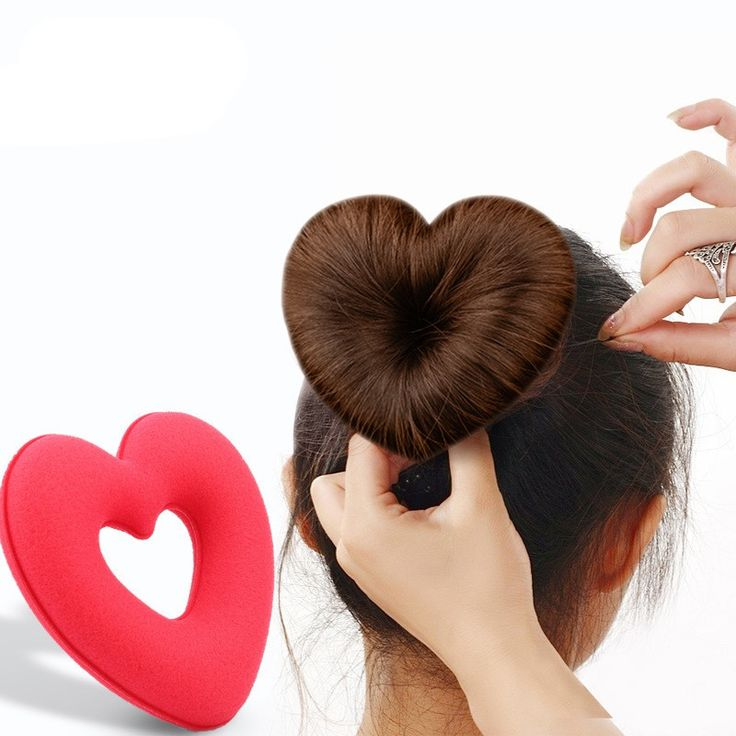 1PC Heart Love Shape Sponge Hair Tool Hair Styling Tool Hair Accessories Hair Braider Tool