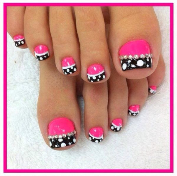 hot pink and black pedi nails