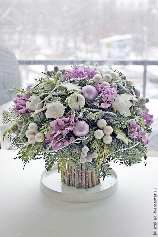 Купить Зимний букет сиреневый - фиолетовый, зимний букет, Новый Год, новогодний подарок