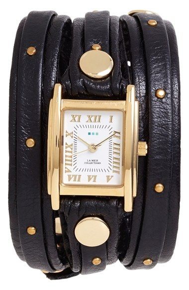 La Mer Collections Studded Leather Wrap Watch, 19mm available at #Nordstrom