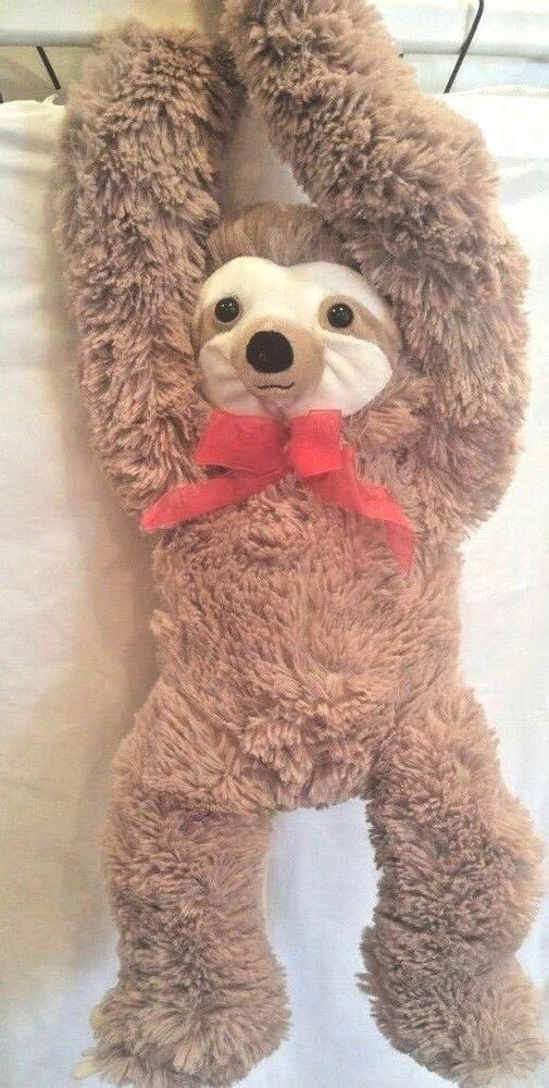"Sloth Plush 19"" Head to Toe Soft Red Ribbon Hook and Loop"