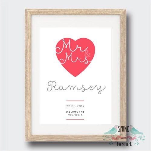 Mr & Mrs Date Love Print $25.00 spunkandheart.com #wallart #love #home # happy #print #decor #loving #nursery #interiordesign #nurseryinteriordesign #mom #mum #mother #family #dates #anniversary #sunshine #newborn #baby #child #grandparent #nana #nanna #grandmother #grandfather #pop #wedding #anniversary