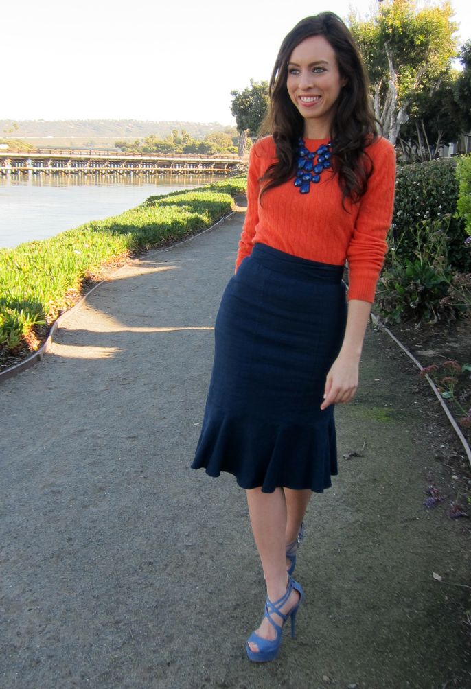 How to wear orange and navy together sweater and pencil skirt. giving me ideas for the homeski.