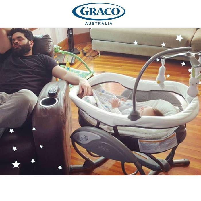 Graco Australia Soothing System Glider. It has four modes, including a gliding swing, gliding bassinet, portable bouncer and portable bassinet. Use the portable bassinet to keep baby close to you anywhere in the home. At #Melbourne #PBCExpo this weekend - August 19-21!