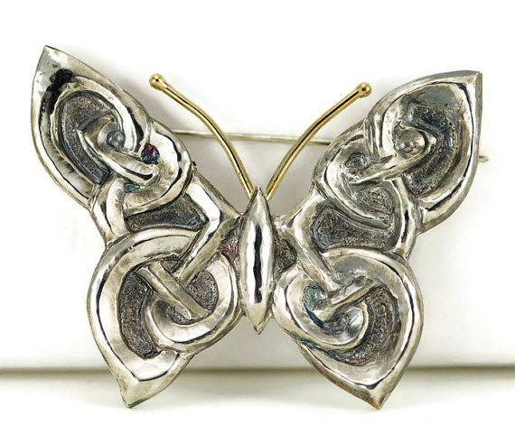 Celtic Butterfly Brooch  18k Gold and Sterling Shawl by PPennee