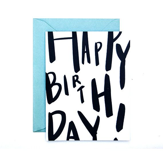 Happy Birthday Typography Card Unisex Birthday by GramercyStudio
