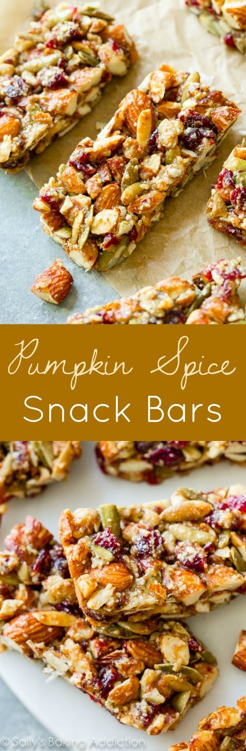Homemade copycat KIND bars with pumpkin spice, almonds, pumpkin seeds, and dried cranberries from @sallybakeblog