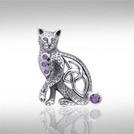 Magickal Cat Silver Pendant TPD332 -   This regal cat is uniquely designed with a Celtic knotwork cutout and accented with your choice of sparkling gems.  Peter Stone – the world's leading manufacturer of fine sterling silver Wicca and Pagan jewelry – has created the Wiccan Cat Collection to celebrate the cat's long relationship as a companion to practitioners of Wicca.