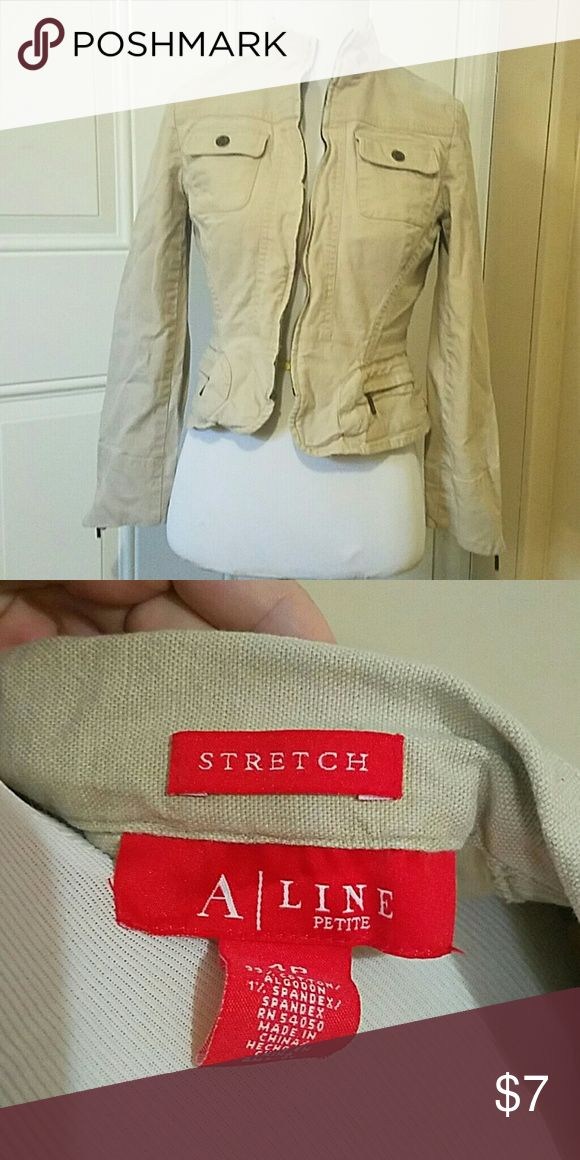 Fitted A-line jacket, zip up, beige, zip up sleeve Super cute jacket, front zipper is broken, great for layering in fall, needs steamed but in great condition A-line  Jackets & Coats Blazers
