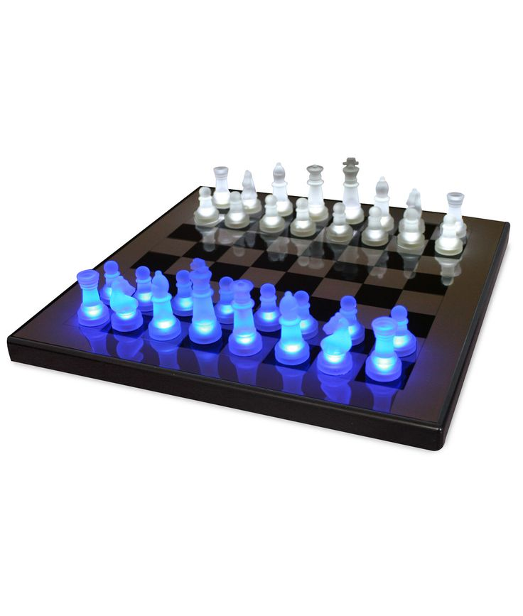 LED CHESS SET | Chess, White, Blue, Light, Glowing, Game | UncommonGoods