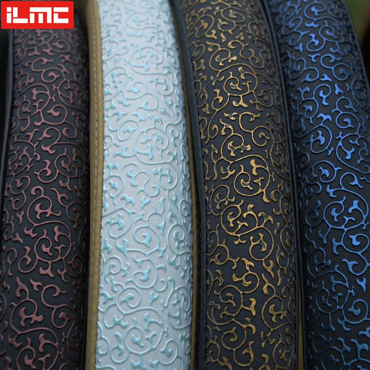 High Quality CAR STEERING WHEEL COVER PU Leather Viscose Carved Protect Steering Wheel Blue Golden Green Red Auto Supplies