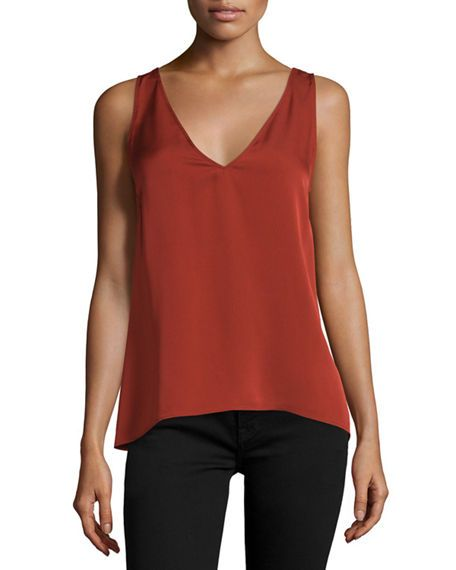 THEORY Narcyz Modern Georgette Pleat-Back Top, Red Oak. #theory #cloth #