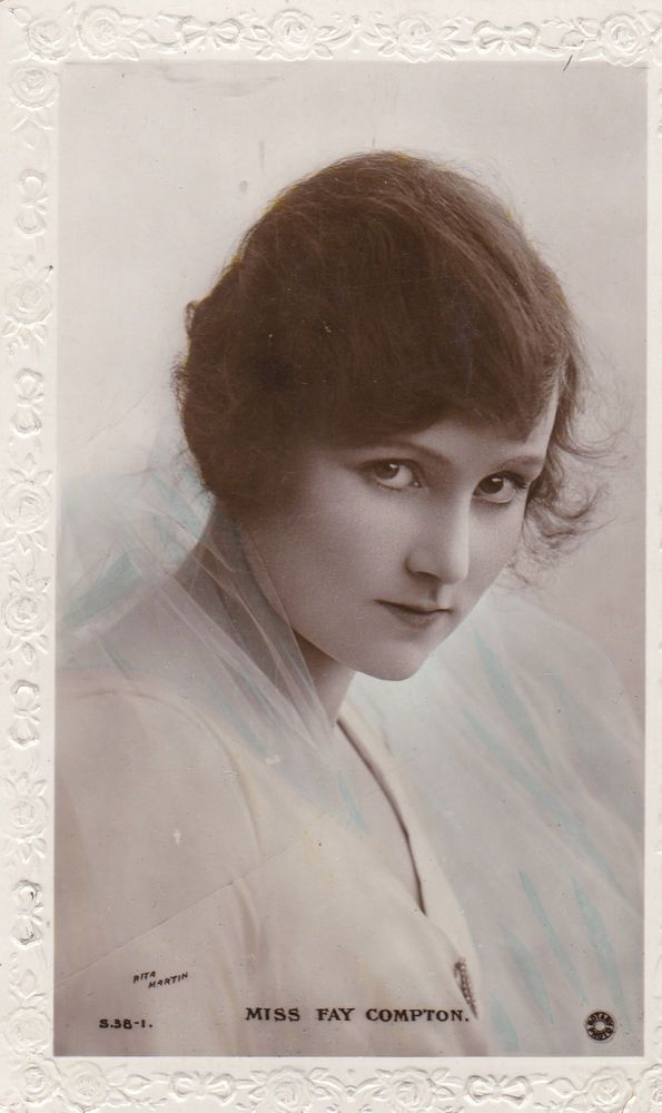 Vintage Postcard 1910~ACTRESSES~MISS FAY COMPTON~REAL PHOTO ROTARY HANDPAINTED