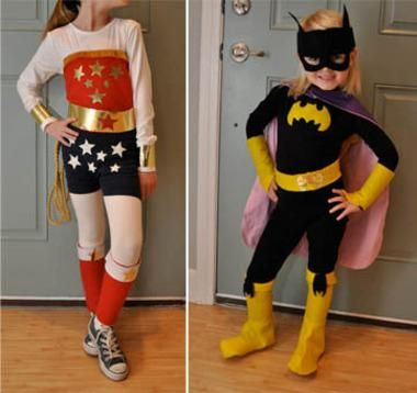 DIY Superhero Costume : DIY  wonder woman andbatgirl :DIY Halloween DIY Costumes