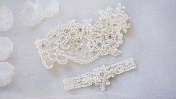 OFF WHITE wedding garter set customizable by BridalByCrysteliz