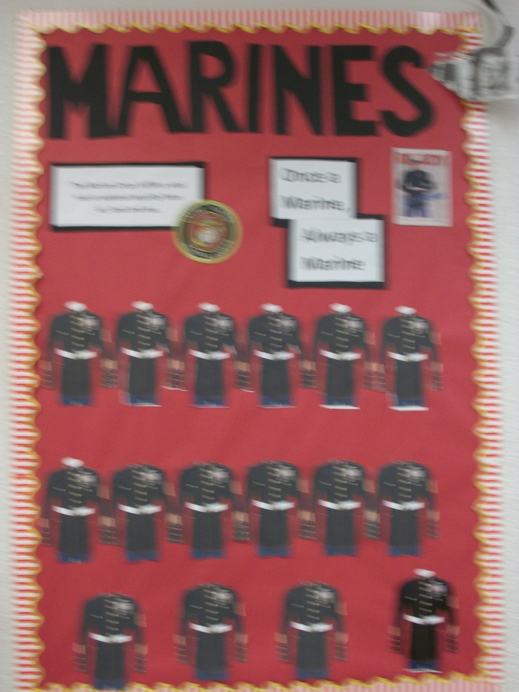 Marines (aw, it's blurry) - students' head shot photos will be put on the uniforms.  (Bulletin boards designed by a fabulous education intern.)