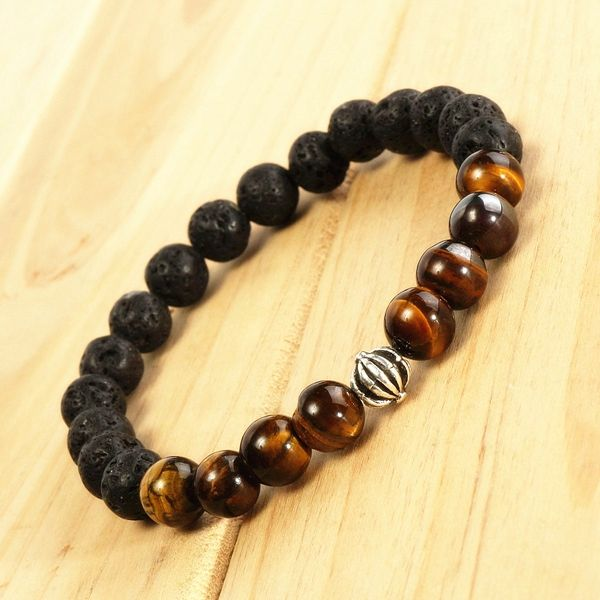 6mm Black Lava Rock Tiger Eye Stone Elastic Bracelet