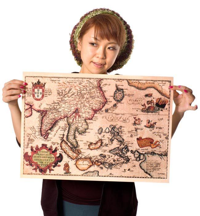 【16世紀】アンティーク地図ポスター★古地図 マップ 世界地図 海図★ INDIAE ORIENTALIS 【南アジア・東アジア・東南アジア周辺】 |