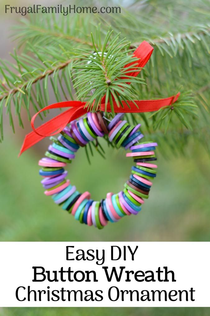 Make these DIY Christmas Button Wreaths for your Christmas tree. These button wreaths are so easy to make and a great project for the kids. You can use your stray buttons or go with a color themed package of buttons. If they ever break you can always reuse the buttons too.