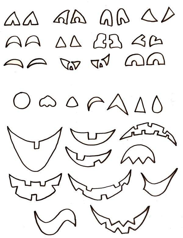 Taille réelle. Ces parties de visage de citrouilles d'Halloween peuvent être utilisées pour d'autres bricolages avec les citrouilles !