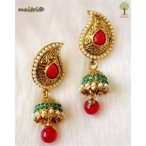 Online Shopping for Antique Earring -   Jhumka Gold | Earrings | Unique Indian Products by Maitri Crafts .  AME 39 - Jhumka Red Green Gold Length : 6.5 cms