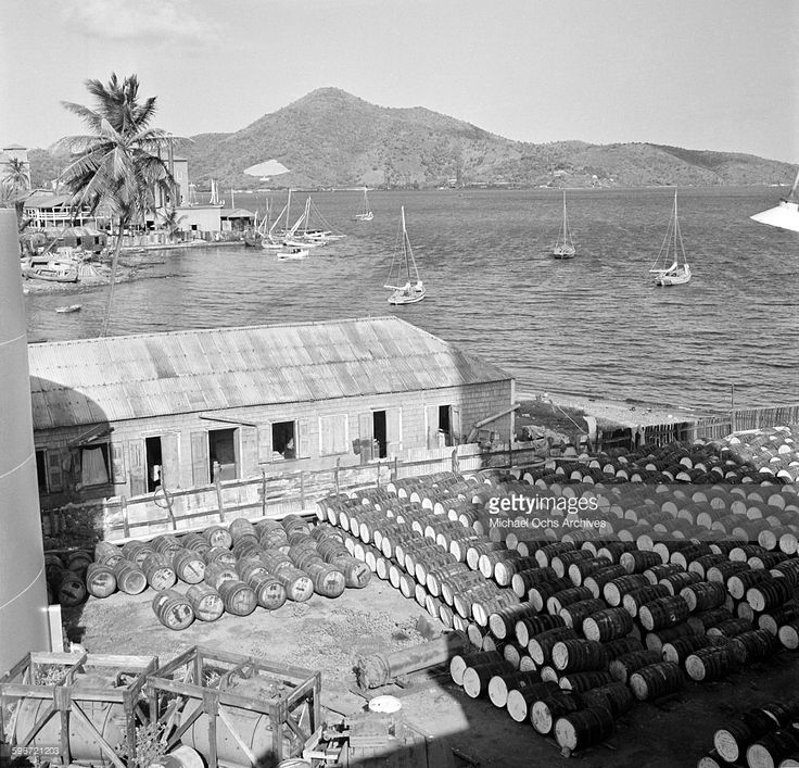 A view of barrels of rum outside a distillery in Charlotte Amalie, St. Thomas, US Virgin Islands.