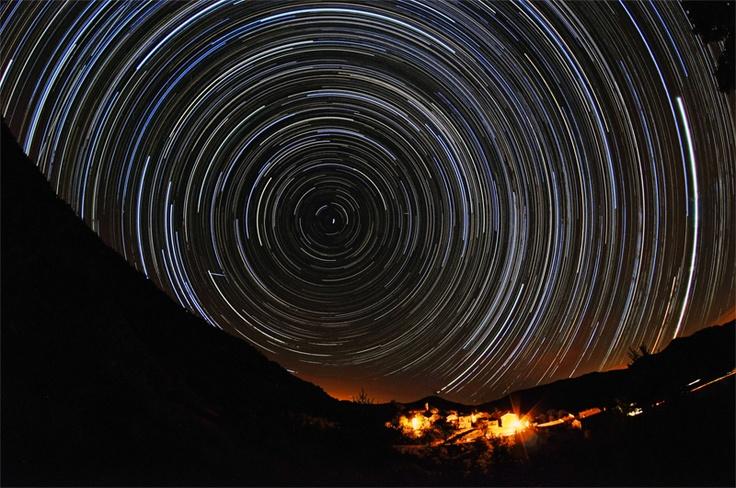 Stars over Etoile Saint Cyrice  Samyang 8mm fisheye with Nikon D90, tripod mounted. Exposure: 7 hours (30s bursts) , ISO 800.