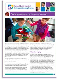 'Play-based approaches to literacy and numeracy' is the latest NQS PLP e-Newsletter and is out now! Check it out here: http://wp.me/p2wNWe-12X   In this e-newsletter, Luke Touhill shows how educators working with children in the prior-to-school years contribute to positive attitudes and early understandings through rich, practical and play-based experiences.