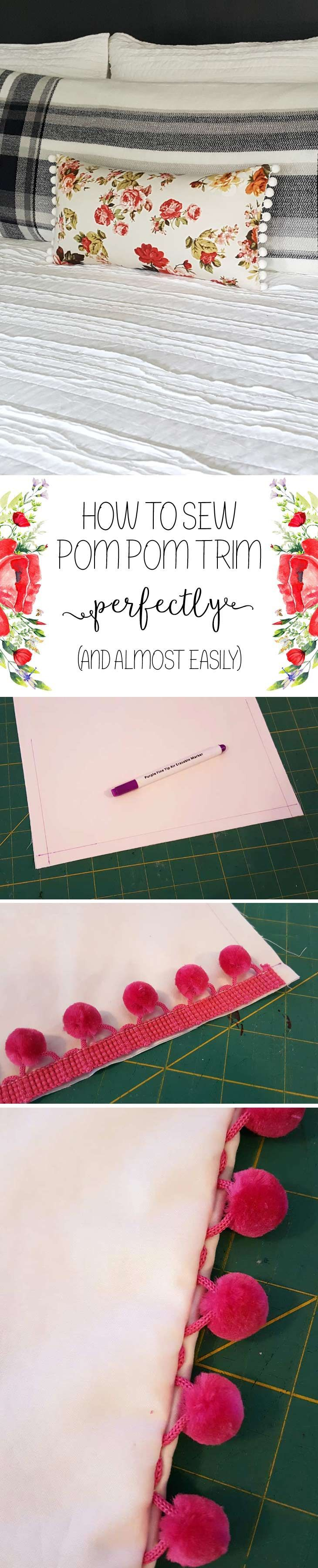 Pin for later. Tips and tricks on sewing pompom trim neatly and precisely....hate uneven trim!