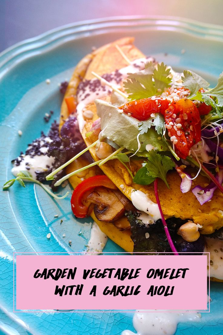 Garden Vegetable Omelet topped with a Garlic Aioli
