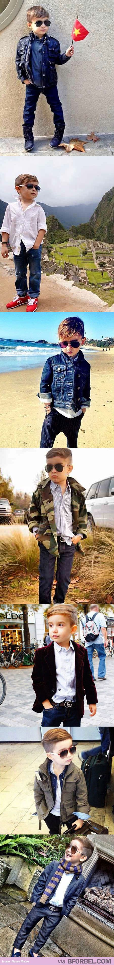 The most stylish little boy to ever walk this earth. Kid's got european swag.