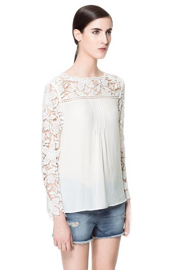 Zara Combination Crochet Blouse 41
