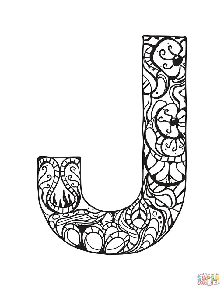 Letter J Zentangle coloring page