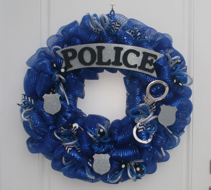 """A friend asked me to make a """"Police Themed Wreath"""" for their auction!"""