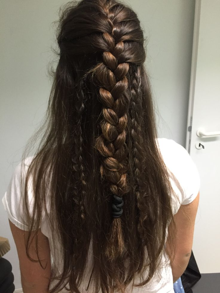 Boho style  Half french braid and some regular small braids on the sides. •Dbraids•