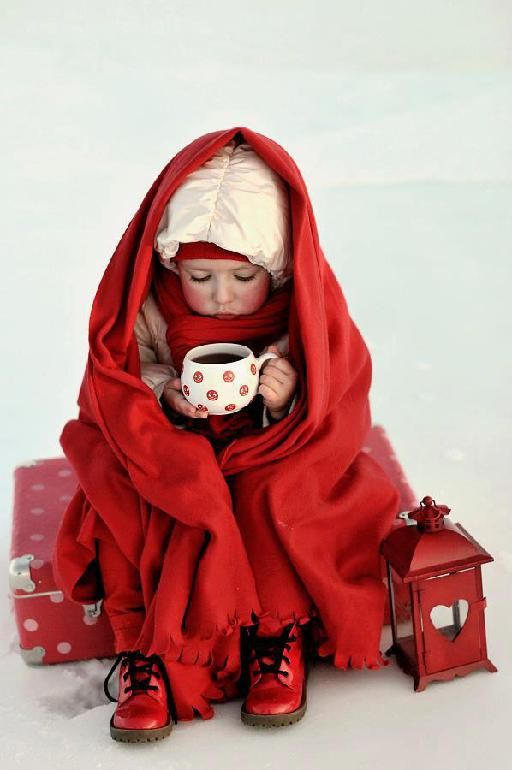 """OH BOY, A CUP OF HOT CHOCOLATE, A WARM BLANKET AND LET'S NOT FORGET THE """"RED"""" SHOES……WHOSE COLD (??)……..IT'S NOT ME………..ccp"""