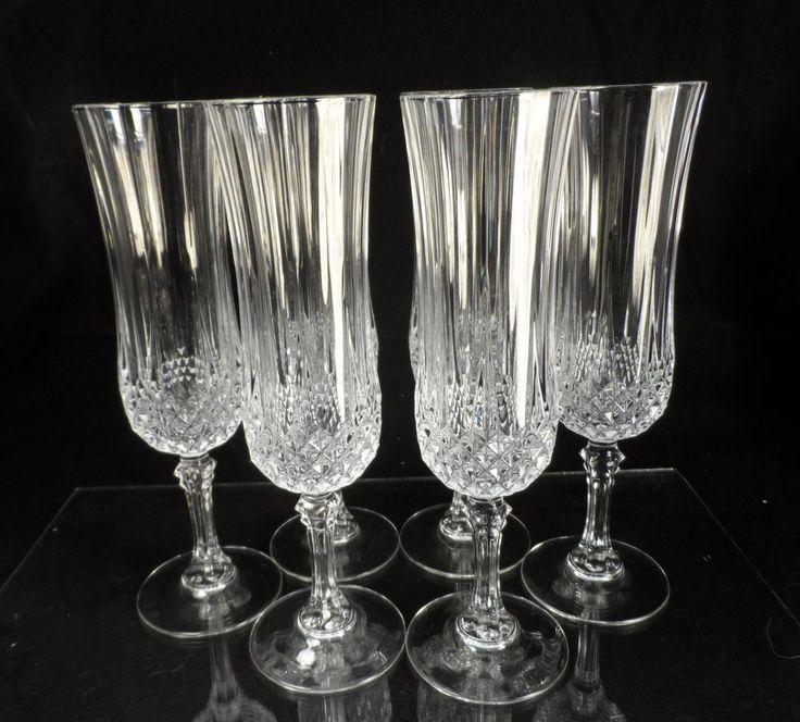 crystal ball stem champagne flutes full lead glasses cristal d 39 arques diamax longchamp pedestal. Black Bedroom Furniture Sets. Home Design Ideas
