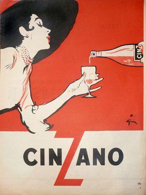 Gruau Cinzano    Galerie Montmartre: Original Vintage Posters ~Rene Gruau ~ Cinzano, 1953