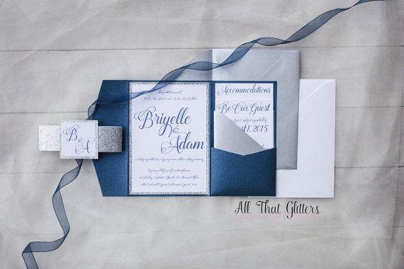 Glitter Wedding Invites  Silver and Navy Glitter by ATGInvitations