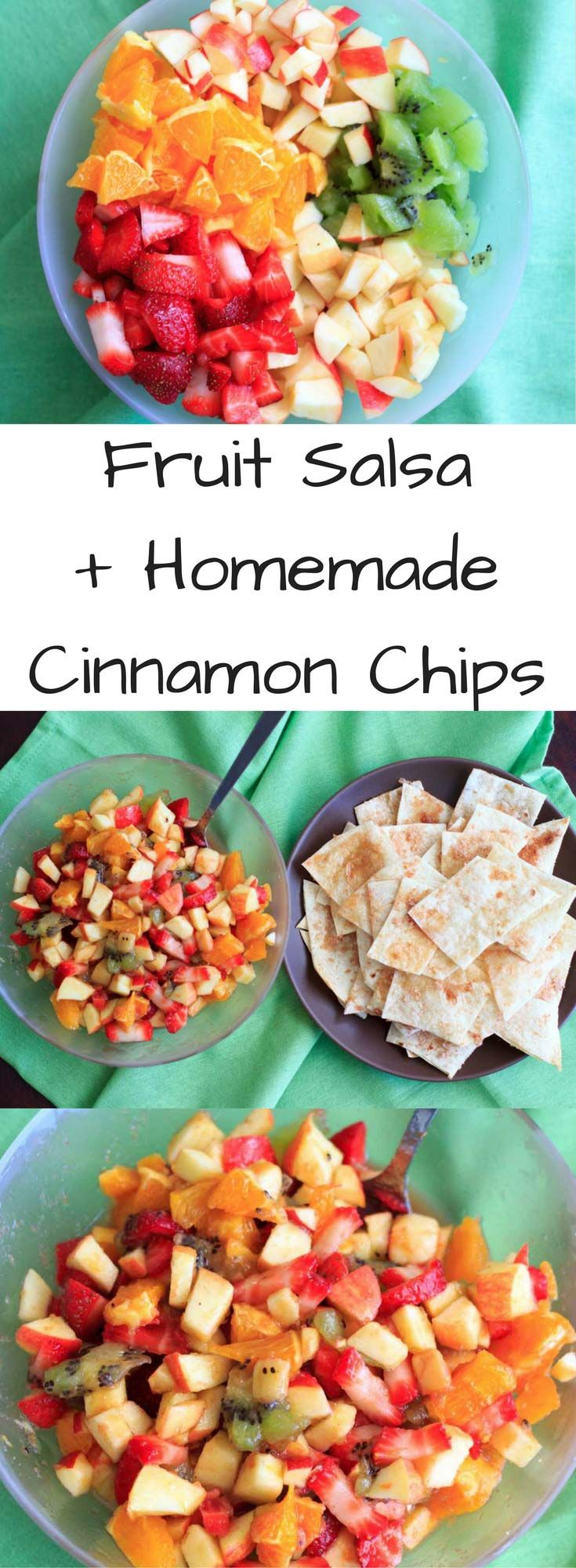 Fruit salsa made from apples, oranges, kiwis and strawberries and tortilla chips baked with cinnamon sugar. Quick to throw together for a colorful party appetizer or healthy dessert! Vegan.