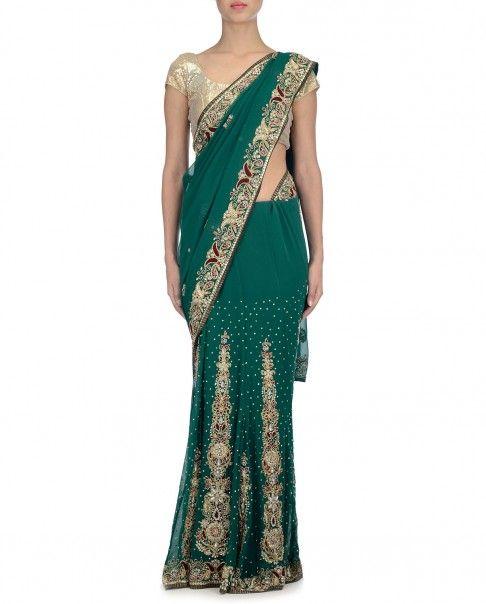 Emerald Green Sari with Stones Work and Embroidery - Dia Kapoor: Saris - Dia Kapoor - Designers