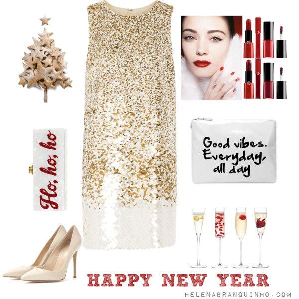 Happy New Year! by helenabranquinho on Polyvore featuring moda, Oscar de la Renta, Gianvito Rossi, Edie Parker and LSA International