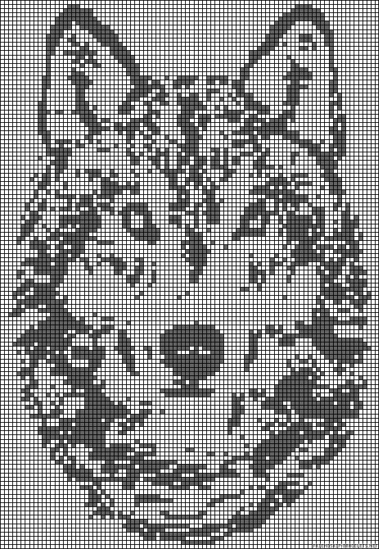 Wolf - This is a pattern for Perler beads, but I think it could be converted to Cross Stitch :)